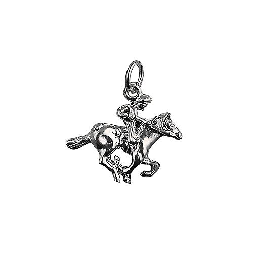 Silver 17x21mm galloping Horse and Jockey Pendant or Charm