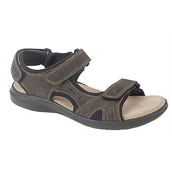 Mens Leather Sports Sandals Touch Fastening 3 Strap Shoes
