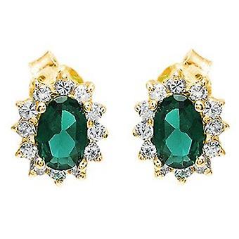 Ah! Smycken Oval smaragd äkta kristaller från Swarovski örhängen