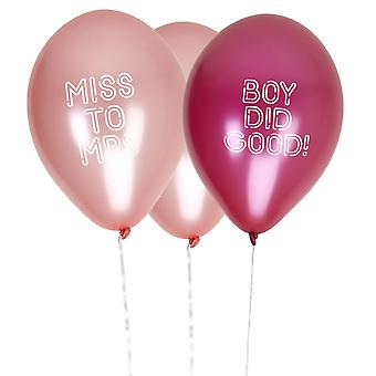 Bride Squad Hen Party Balloons Boy Did Good / Miss to Mrs - 8 Pack