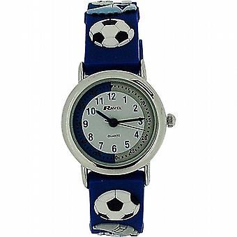 Ravel Time Teacher Kids Boys 3D Football Blue Rubber Strap Watch R1513.32B