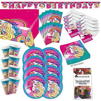 Girl Dreamtopia Original Party Set XL 63-piece for 8 guests Barbie party decoration party package