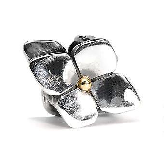 Trollbeads klim hortensia zilver en 18kt gouden hanger TAGPE-00029