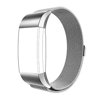 FitBit Charge 2 Strap Milanese Steel Magnetic Clasp Silver Strap