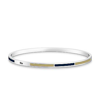 University Of Pittsburgh - Pitt Engraved Two-Tone Enamel Bracelet In Dark Blue And Tan