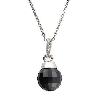 CHAIN WITH PENDANT 925 SILVER FACET BALL BLACK  ZIRCONIUM