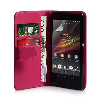 YouSave Sony Xperia Z Leather Effect Wallet Case Hot Pink