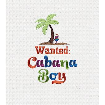 Wanted Cabana Boy Palm Tree Embroidered Waffle Weave 27 Inch Kitchen Dish Towel