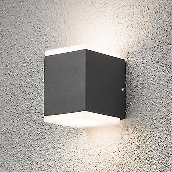 Konstsmide 7991 Modern Monza Double LED Cube Outdoor Wall Light Box