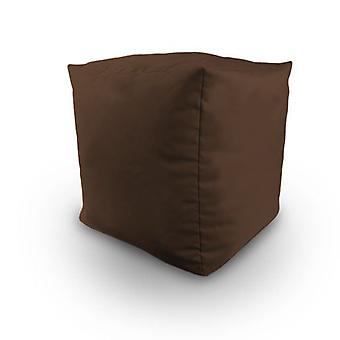 Chocolate Cotton Twill Bean Cube Footstool Pouffe