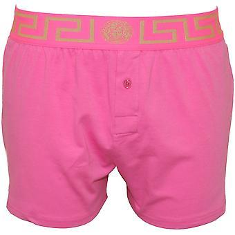 Versace Iconic Button-Front Boxer Short, Fuschia Pink