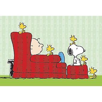 Peanuts Charlie Brown, Snoopy & Woodstocks Charly Brown, Snoopy, Woodstock in lazychair
