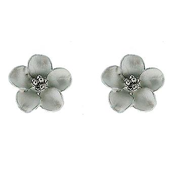 Petite Silver and Matt White Daisy Flower Stud Earrings