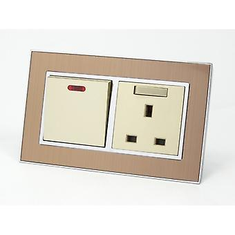 I LumoS AS Luxury Satin Gold Metal Double 20A Switch with Switched 13A UK Socket