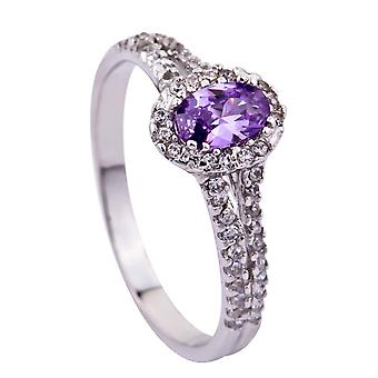 Affici Sterling Silver Halo Ring 18ct White Gold Plated ~ Amethyst & Diamond CZ Gems
