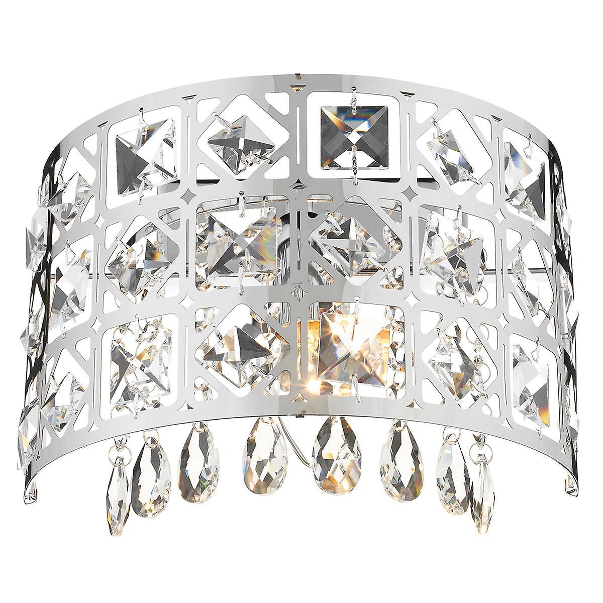 Dar DUC0750 Duchess Modern Chrome Double Insulated Crystal Wall Light