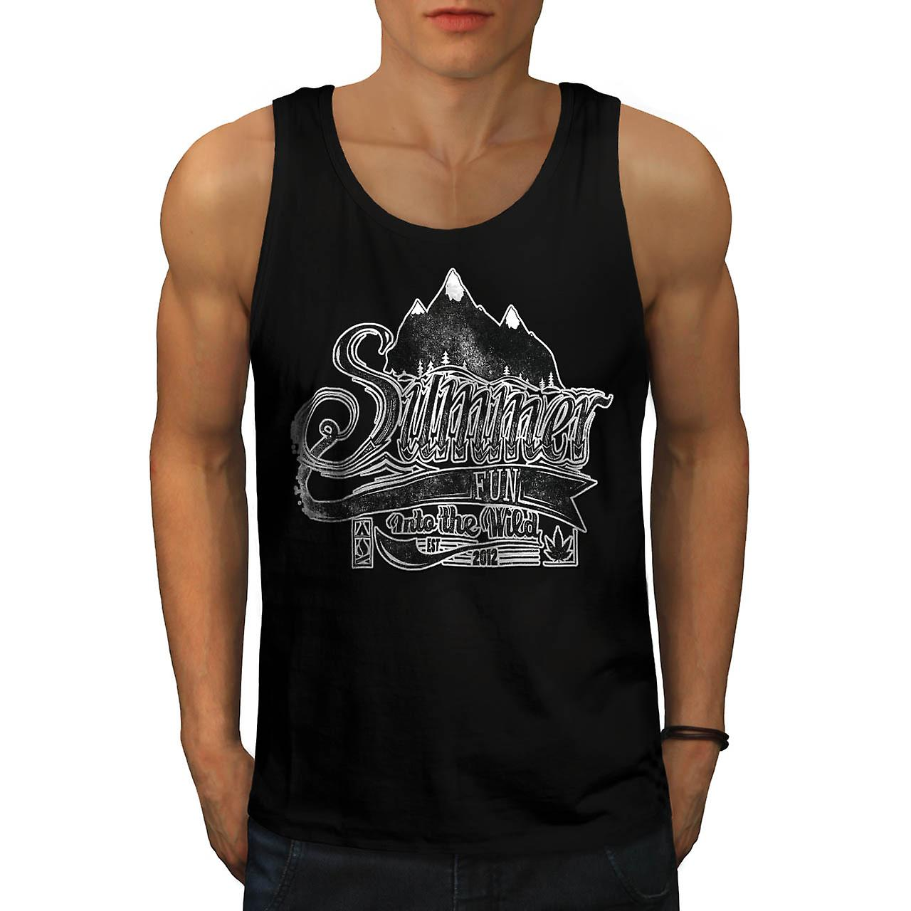 Summer Fun Into Wild Camping Kit Men Black Tank Top | Wellcoda