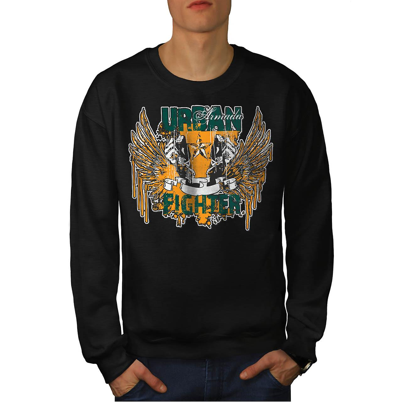 Armada urbain Fighter Fist ailes hommes Black Sweatshirt | Wellcoda
