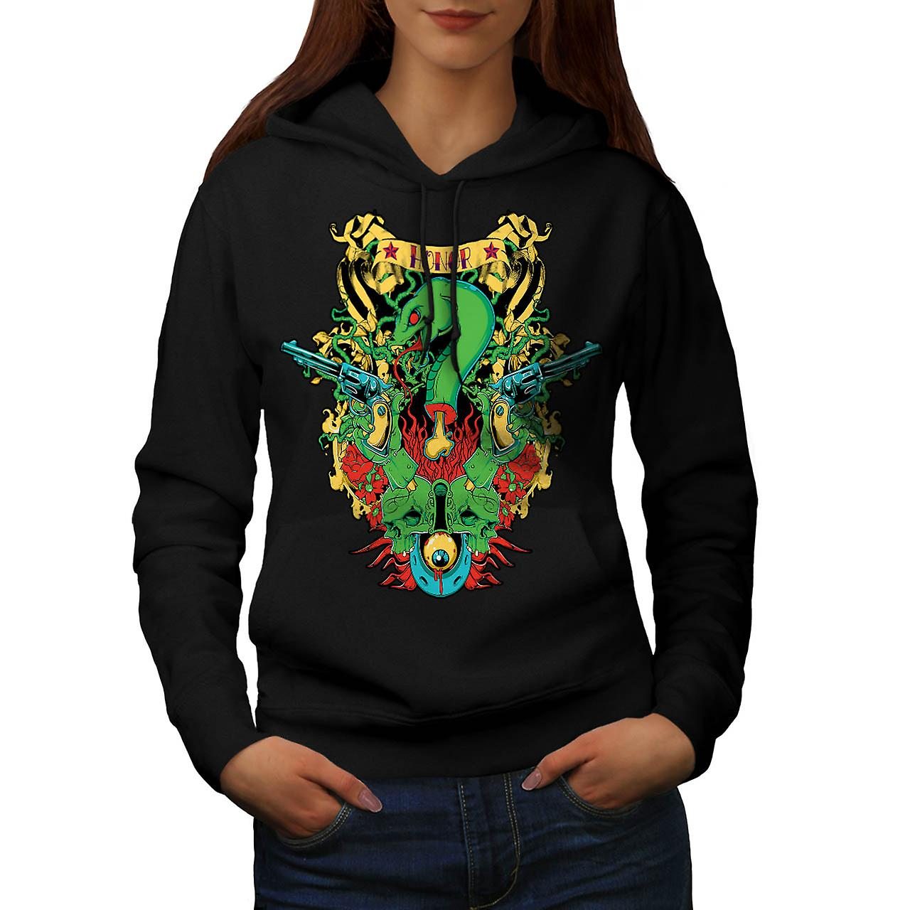 Dragon Death Honour Snake Myth Women Black Hoodie | Wellcoda