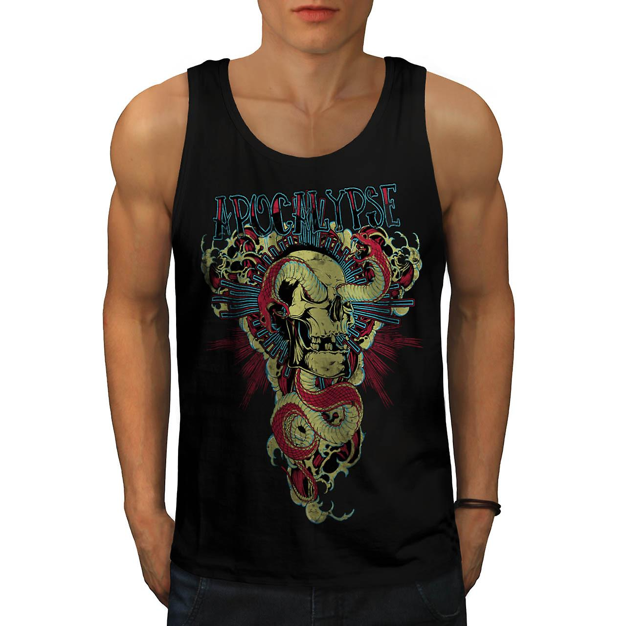 Snake Apocalypse Bite Dead Skull Men Black Tank Top | Wellcoda