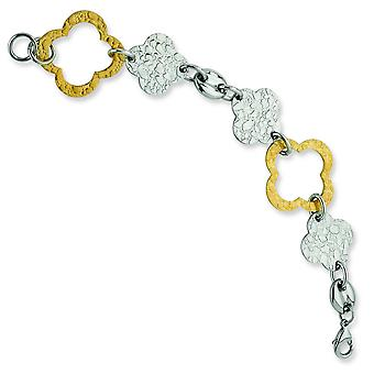 Stainless Steel Brushed Textured Polished Yellow IP-plated Fancy Lobster Closure Gold IP Plated Fancy Link Bracelet - 8