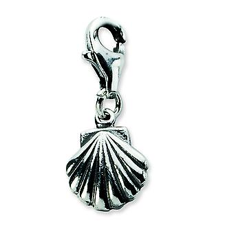 Sterling Silver Antiqued Clam Shell With Lobster Clasp Charm - 1.2 Grams - Measures 20x9mm