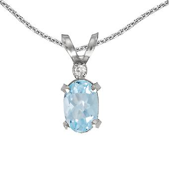 14k White Gold Oval Aquamarine And Diamond Filagree Pendant with 18