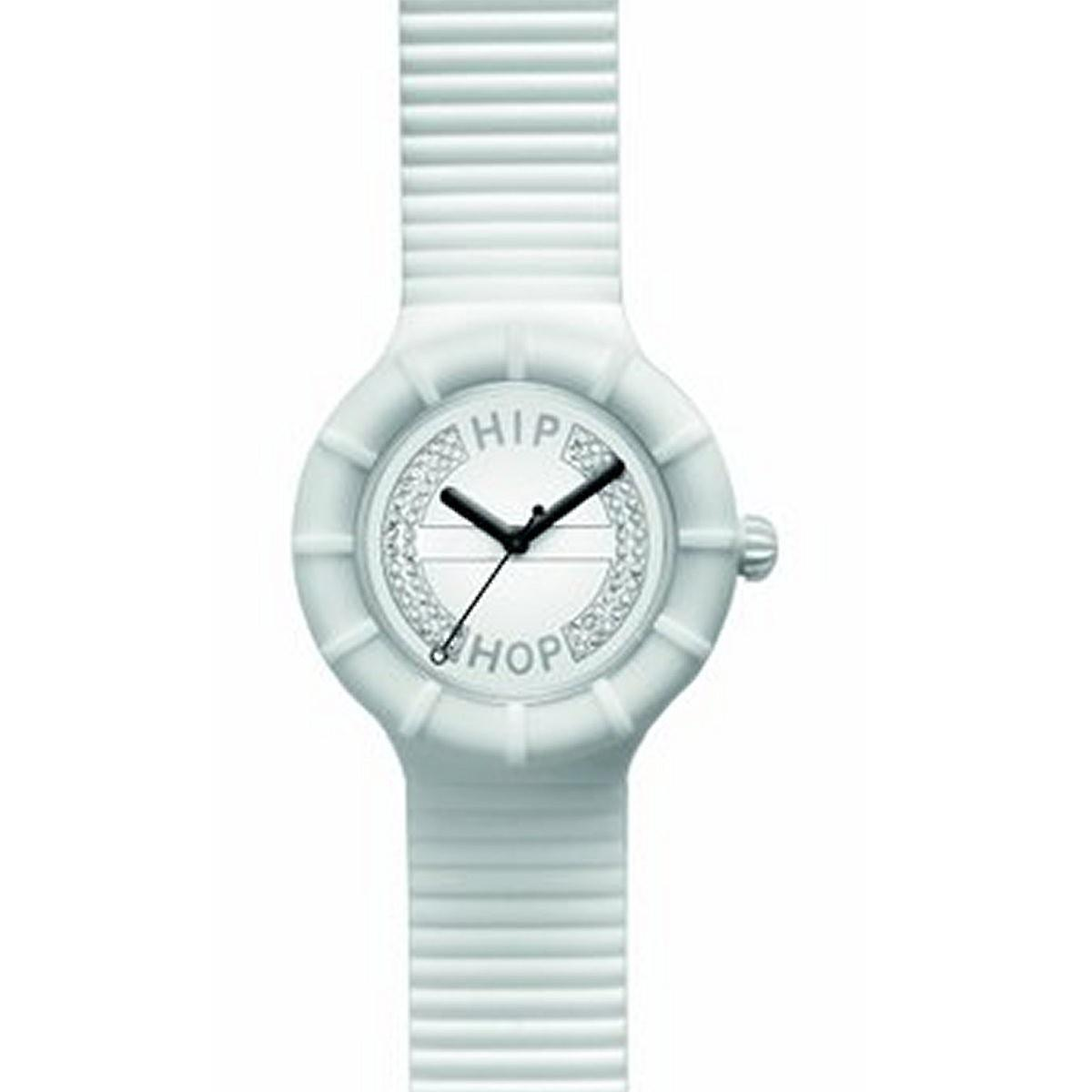 Hip hop watch wrist watch silicone watch crystal 40 mm HWU0163 bianco