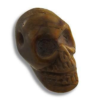 Carved Tiger Eye Gemstone Skull Pendant 25mm 1 Inch
