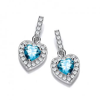 Cavendish French So Cute Mini Aqua CZ Drop Heart Earrings