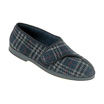 GBS Mens Slippers Bill Velcro Touch Fastening Textile Check Footwear Shoes New