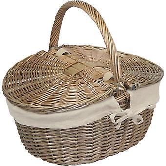 Antique Wash Finish Wicker Oval Picnic Basket