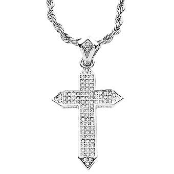 Iced out bling MINI chain - 3D cross silver