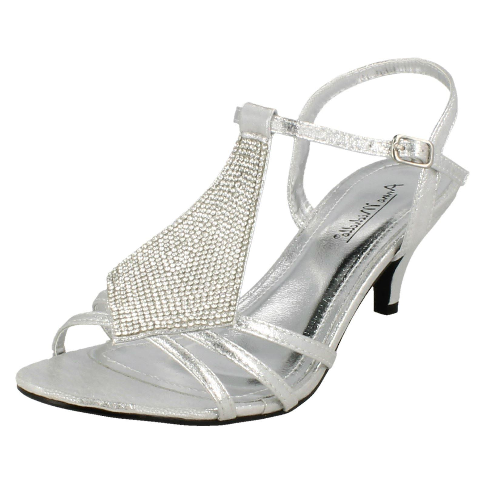 Ladies Anne Michelle Mid Kitten Heel Diamante Sandals F10652