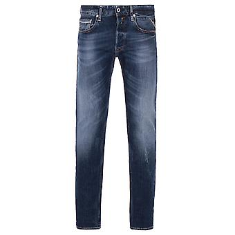 Replay Grover Deep Washed Blue Straight Fit Jeans