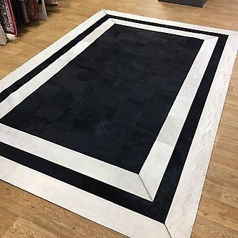 Rugs - Patchwork leather Cubed Cowhide - SR2 Black & White