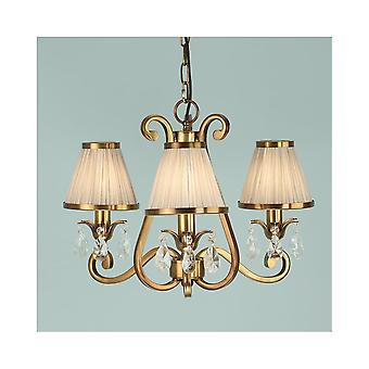 Interiors 1900 Oksana Brass 3 Light Chandelier With Beige Shades