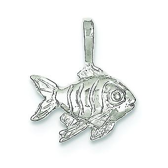 Sterling Silver Solid Textured Polished Open back Fish Charm - .8 Grams