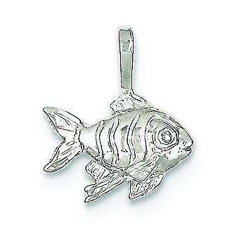 Sterlingsilber solide nicht glatt polierten Rückenausschnitt Fisch Charm -.8 Gramm