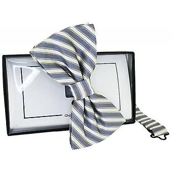 David Van Hagen Striped Silk Bow Tie - Grey/White