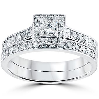 3/4 cttw Princess Cut Diamond Halo engasjement giftering sett 10K hvitt gull