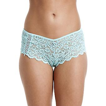 Camille Womens Ladies Aqua Blue Lace Boxer Shorts 10-20