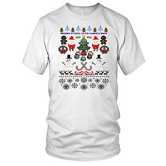 Pixelated Christmas Ladies T Shirt