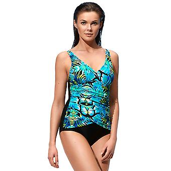 Susa 4145-248 Women's Black, Blue and Green Floral Print Padded Non-Wired Swimsuit