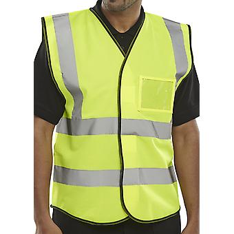 B-Seen Hi Vis Vest With Id Pocket En471. Saturn Yellow (Pack Of 10) - Bd108