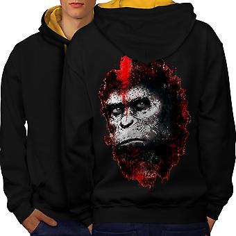 Face de singe bête Animal hommes noir (capot or) contraste Hoodie dos   Wellcoda