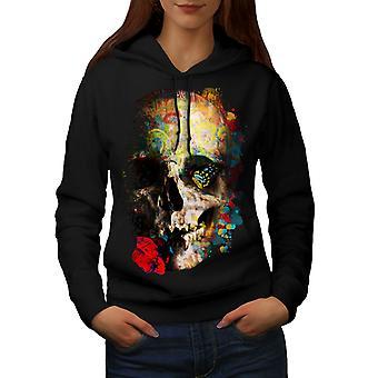 Skull Rose Art Women BlackHoodie | Wellcoda