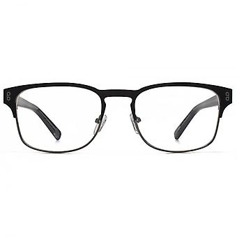 Hook LDN Holt Stainless Steel Keyhole Rectangle Glasses In Matt Black