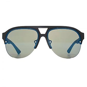 Gucci Sporty Half Rim Pilot Sunglasses In Black Blue Mirror