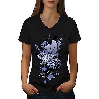 Hodet grafisk kule kvinner BlackV-hals t-skjorte   Wellcoda